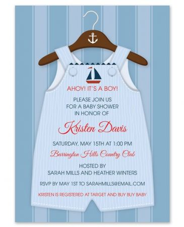 Nautical Overalls Invitation