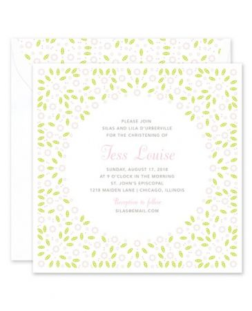 Green Posies Invitation