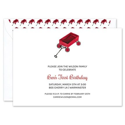 Little Red Wagon Invitation
