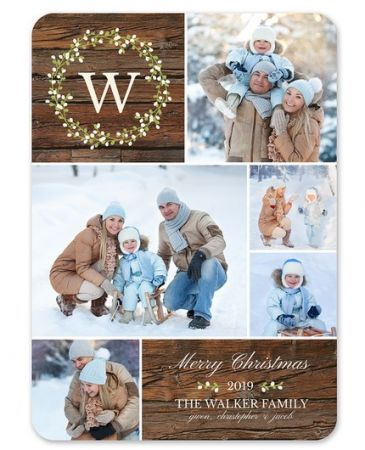 Monogram Wreath Photo Card