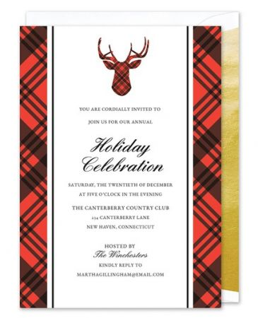 Plaid Reindeer Invitation