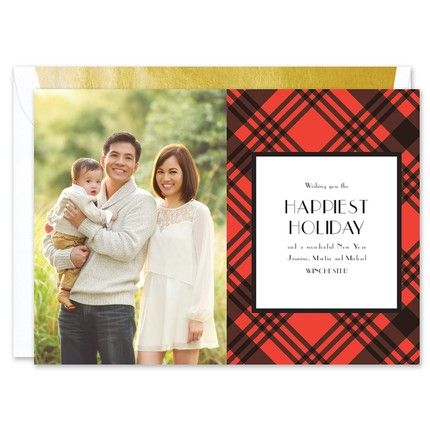 Red Plaid Photo Card