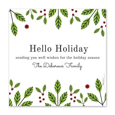 Green Holly Photo Card