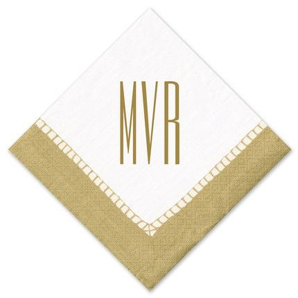 Gold Border Cocktail Napkin