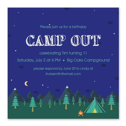 Camp Out Invitation