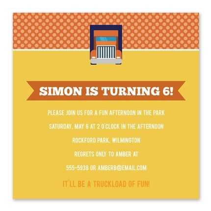 Orange Truck Invitation