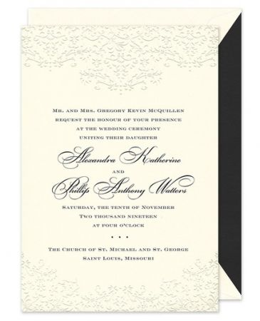 floral scroll invitation fine stationery