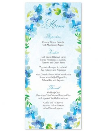Blue Floral Menu Card