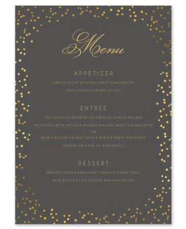 Gorgeous Confetti Menu Card