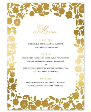 Gold Floral Menu Card