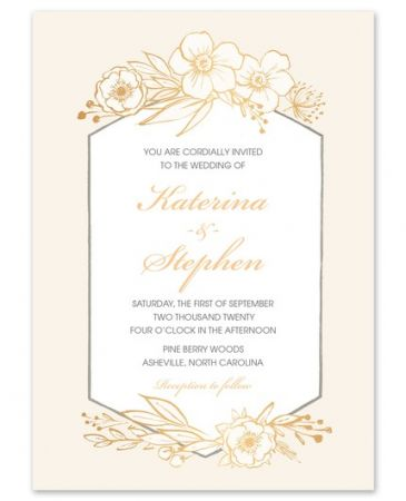 Champagne Floral Invitation