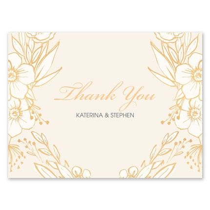 Champagne Floral Note Card