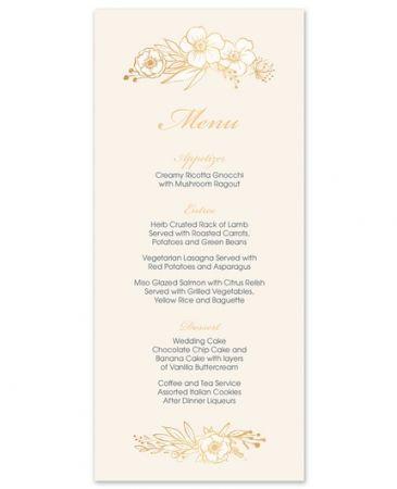 Champagne Floral Menu Card