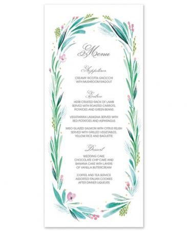 Lovely Leaf Menu Card