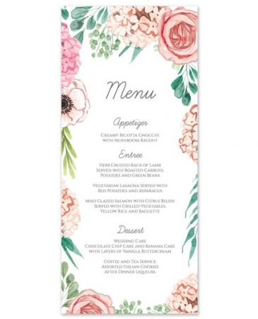 Blossom Bliss Menu Card