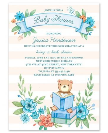 Blue Book Shower Invitation