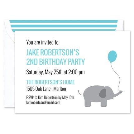 Blue Balloon Invitation
