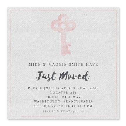Pink Key Invitation