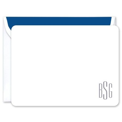 White Monogram Flat Note Card