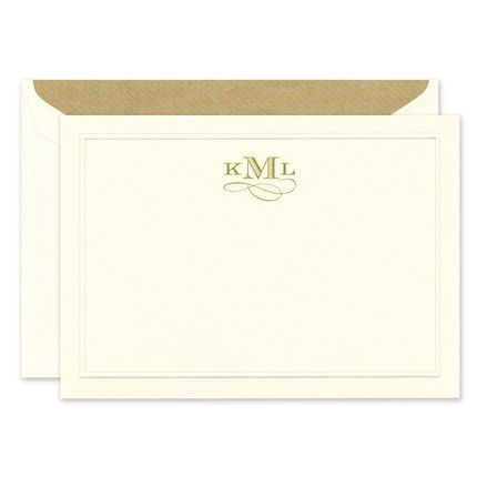 Ecru Rounded Panel Note Card