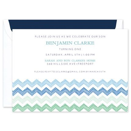 Blue Chevron Invitation