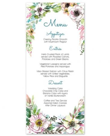 Rustic Floral Menu Card
