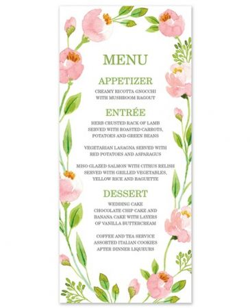 Botanical Wreath Menu Card