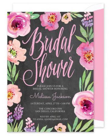 Chalkboard Bridal Floral Invitation
