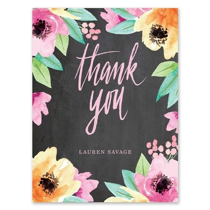 Chalkboard Floral Note Card