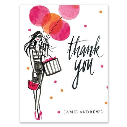 Balloon Thank You Note Card