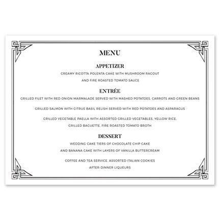 Deco Border Menu Card