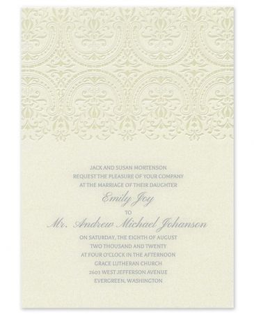 Damask Sculpture Invitation