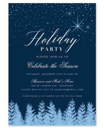 Blue Snowfall Invitation