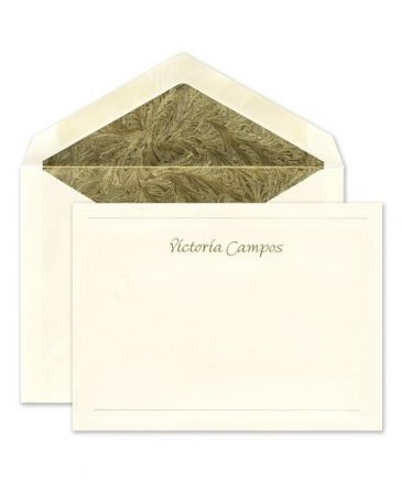 Ecru Embossed Flat Card