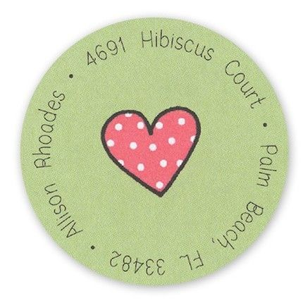 Red Dotty Hearts Label