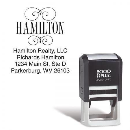 Last Name Square Custom Address Stamp