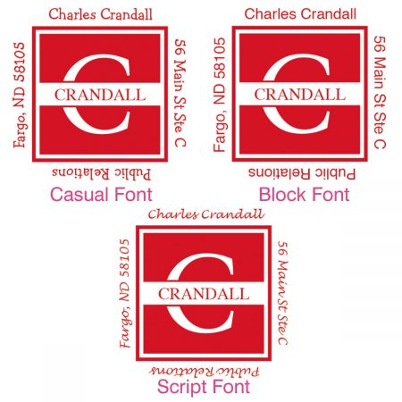 Front & Center Square Initial Address Stamp-Red-478037D