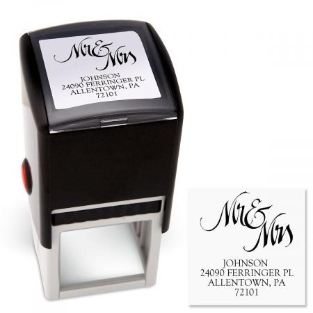 Mr & Mrs Square Custom Address Stamp