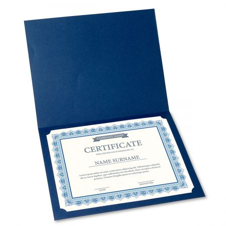 Intricate Blue Certificate on White Parchment - Set of 50