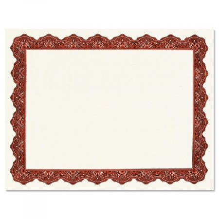 Majestic Maroon Certificate on White Parchment - Set of 100