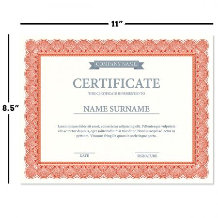 Elite Red Certificate on White Parchment - Set of 100