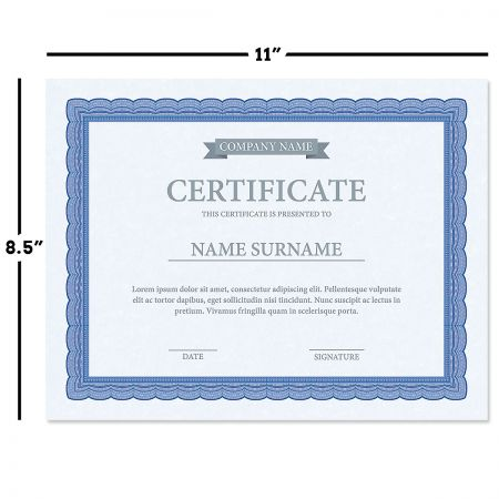 Executive Blue Certificate on Blue Parchment - Set of 25