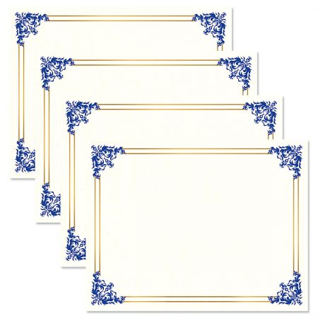 Empire Blue Certificate on White Parchment - Set of 50