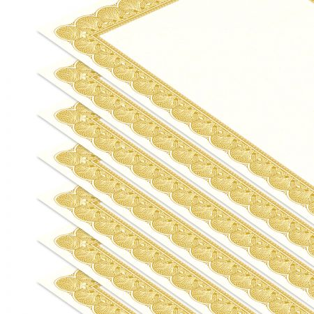 Gold Certificate on White Parchment - Set of 10