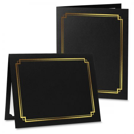 Classic Black Certificate Folder with Gold Border - Set of 25