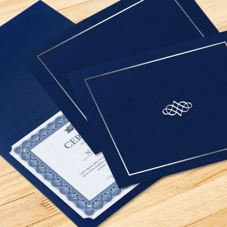 Ornate Blue Certificate Folder with Silver Border/Crest - Set of 50