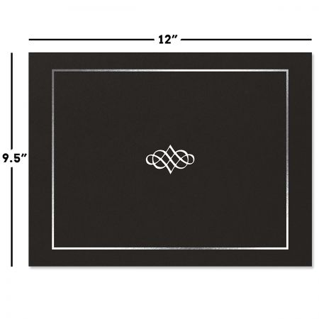 Ornate Black Certificate Jacket with Silver Border/Crest