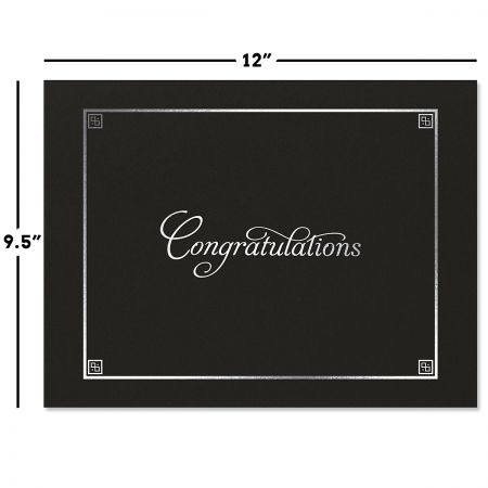 Congratulations Black Certificate Jacket with Silver Border