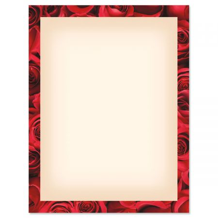Bed of Roses Frame on Cream Letter Papers