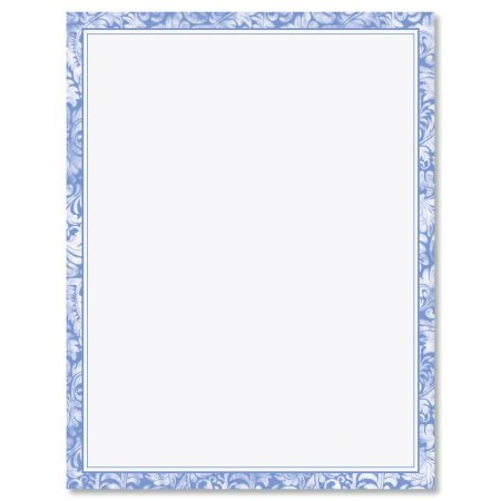Blue Alluring Border Letter Papers